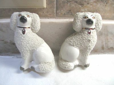 Antique Pair Staffordshire Ware Dogs - White Bocage Fur - Gorgeous