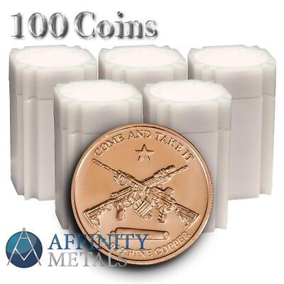 100 Coins-  Molon Labe 1 oz .999 Copper Bullion Rounds