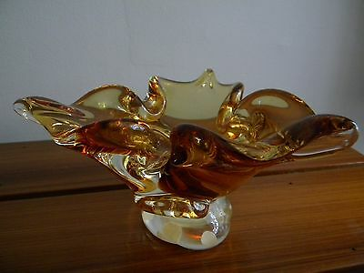 Gorgeous 1960's Amber Chalet Murano Art Glass Bowl Mid-Century