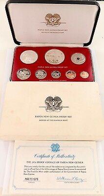 1976 Papua New Guinea Proof Set, Original Box & Coa. Issued By Franklin Mint.