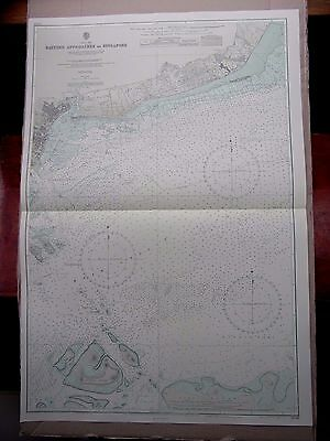 """1972 Eastern Approaches to SINGAPORE - Nautical Sea Map Chart 28"""" x 41"""" B22"""