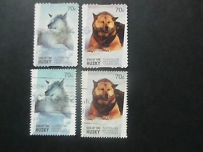 -1-2014  Aat  Husky's  Both  Perf;    --4  Stamps    --Used --A1