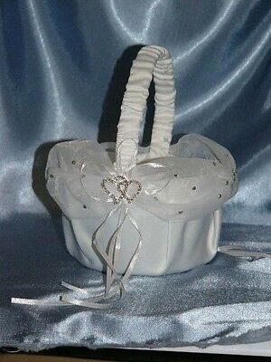 Wedding Flower Girl White Basket-Satin,Chiffon & Love Heart Diamantes BSKT6-WH