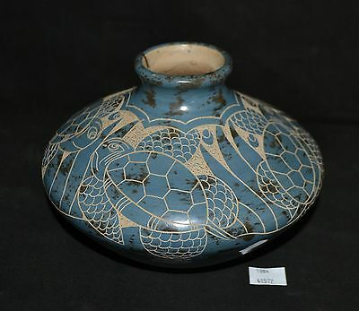 ThriftCHI ~ Souvenir Costa Rica Pottery Vase w Etched Turtle Design Signed Mauro