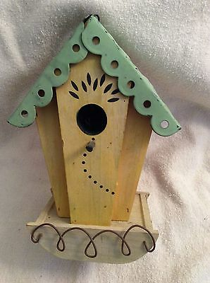 Tin Roof Rustic Wood Birdhouse Home Garden Decor