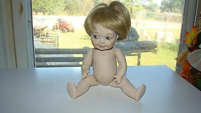 """Vintage Bisque Porcelain  Fully Jointed 8"""" Vernon Seeley Doll Glass Eyes Marked"""