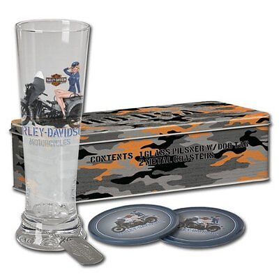HARLEY DAVIDSON  Military Pin-Up Pilsner Set - Air Force / Ava Tin Footlocker