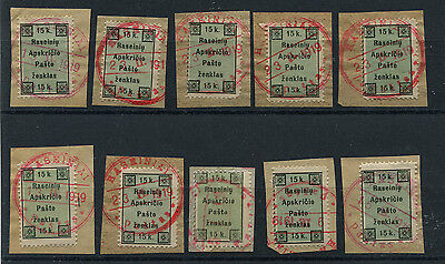 LITHUANIA  RASEINIAI LOCAL  USED TYPES 1 AND 2  ON PIECES  10 stamps
