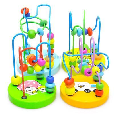 HOT~Children Kids Baby Colorful Wooden Mini Around Beads Educational Game Toy US