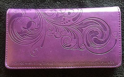 Purple leather checkbook cover with design and bible verse
