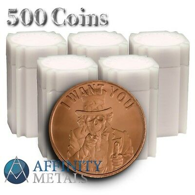 500 Coins Silver Shield Uncle Slave .999 Pure Copper Bullion Round