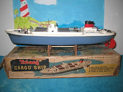 TRI-ANG 'Ocean Trader' vintage toy plastic model ship boat motorized Cargo Ship