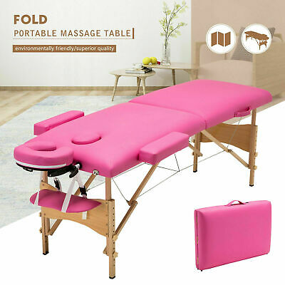"84""L Fold Portable Massage Table Tattoo Facial SPA Beauty Bed Carry Case Pink"