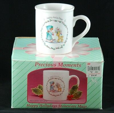 "Vintage Set of 4 Precious Moments ""Happy Holly Days"" Holiday Mugs New Christmas"