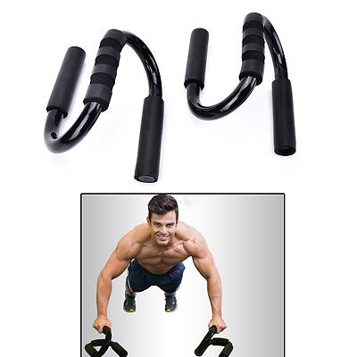 2X Handle Push Up Stands Pull Gym Bar Workout Training Exercise Home Fitness OZ