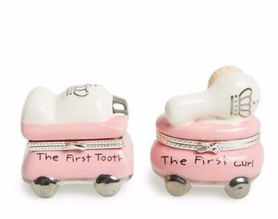 Mud Pie Baby Princess Pink First Tooth Curl Treasure Limoge Gift Box Set 7922