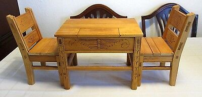 Retired American Girl Josefina New Mexican Wooden Table & Chairs, Late1990's, EC