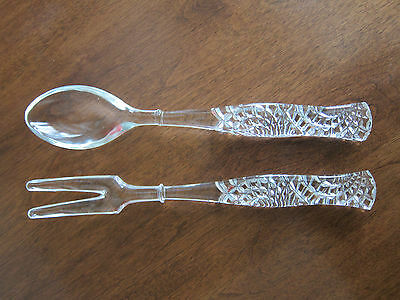 Vintage Cut Crystal Glass Salad Serving Tong And Spoon