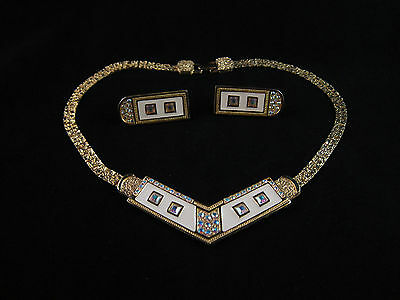 Nice Vintage Gold Tone Necklace / Ivory Colour Enamel & Rhinestones SET