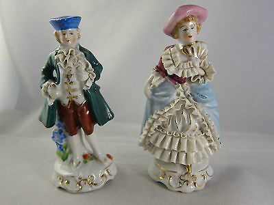 Vintage Occupied Japan Figurine Courting Couple Colonial Victorian 4 '' 1/2 high