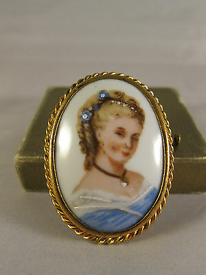 Vintage Limoges France Porcelain Oval Blonde Lady Cameo Hand Painted Brooch Pin