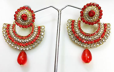 New Indian Ethnic Beautiful Bridal Party Red Rhinestone Classy Earrings Pair