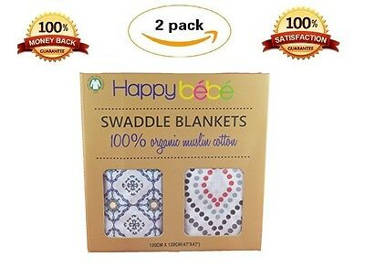 "Organic Muslin Baby Swaddle Blankets | XL Receiving Blankets 47"" x 47"", [2 PACK]"