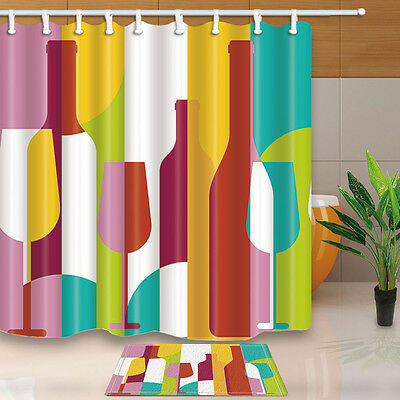 180x180cm Waterproof Polyester fabric Shower Curtain Bathroom mat Beer and cups