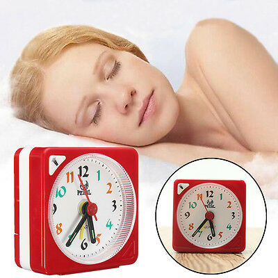 Mini Travel Alarm Clock Analogue Quartz LED Light With Snooze Battery Operated