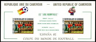 Cameroon 1982 World Cup Football Soccer Imperf Sheet On Cardboard Mnh Rare!