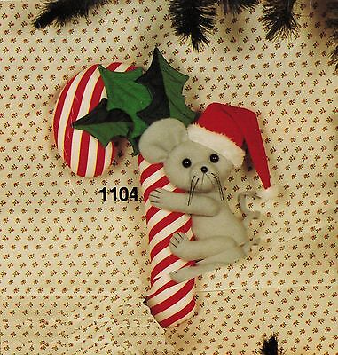 Christmas Stuffed Candy Cane Mouse Doll Wall Hanging Fabric Sew Kit