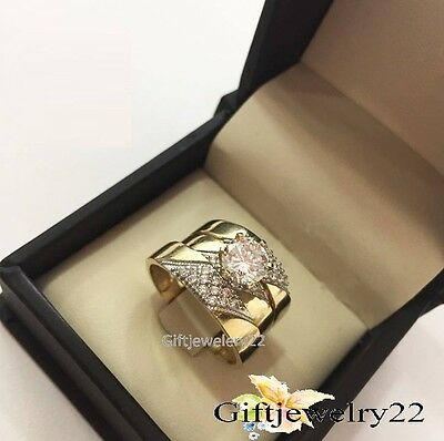 10K Yellow Gold Trio His Hers Men Womens Diamond Rings Set Wedding Bridal Band