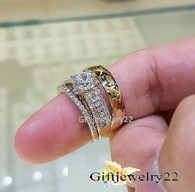 His and Her Diamond Engagement Bridal Wedding Band Trio Ring Set 10K Yellow Gold