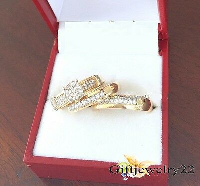14K Yellow Gold Men Women His Her D/VVS1 Diamond Bridal Wedding Trio Ring Set