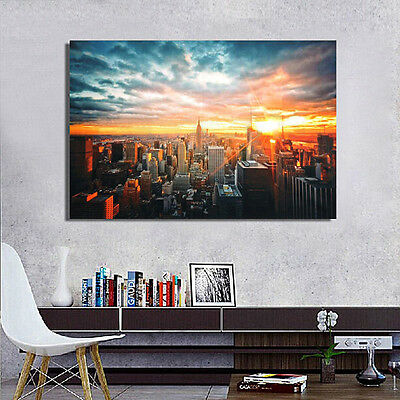 Modern Art New York City Sunset Poster Wall Cityscape Cloth Print Home Decor New