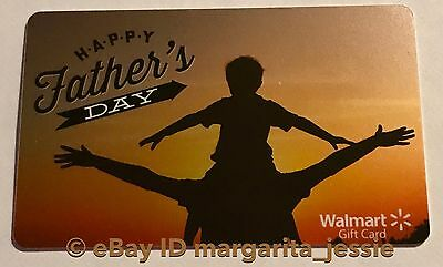 """Walmart Us Gift Card """"happy Father's Day"""" Vacation Sunset Dad & Son No Value New"""