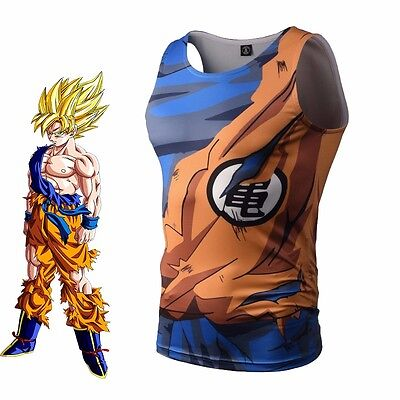 Dragon Ball Z Son Goku T-shirt Tank Top Sports Gym Vest Jersey Cosplay Costume