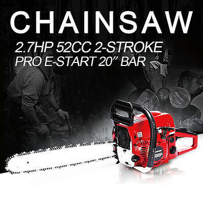 20'' Pro 52CC Engine Petrol Chainsaw Cutting Wood Saw Bar Handle+Repair Tool