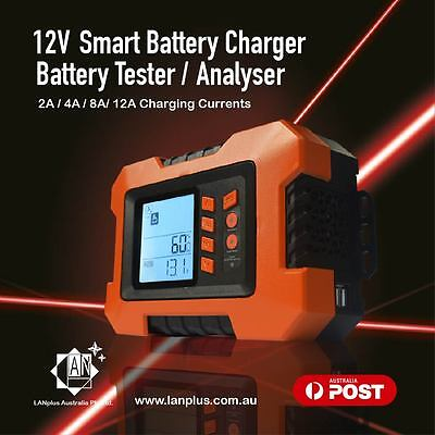 12V Smart Large LCD Battery Tester Charger 7 Stages 2A 4A 8A 12A with 5V USB