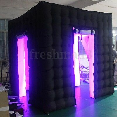 Professional 110V 2 Door LED Bulb Inflatable Photo Booth Enclosure Cube Tent Eve