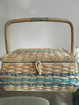 Retro Lined Sewing Basket
