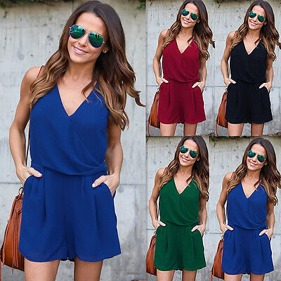 Fashion Womens Holiday Playsuit Summer Jumpsuit Romper Bodycon Clubwear Trousers