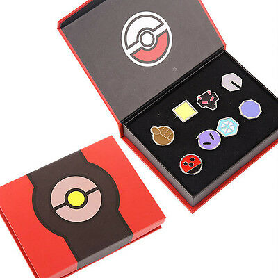 Pokemon Johto 8 Metal League Badge Pin Pip Gen 2 Prop Cosplay Collection Set KL