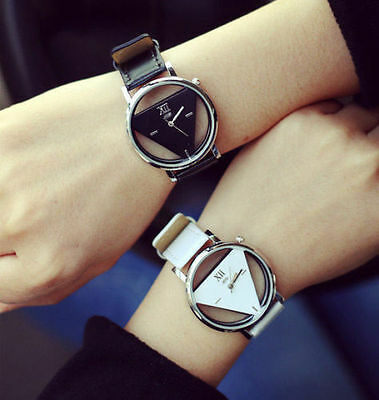 Fashion Leather Band Stainless Steel Sport Analog Quartz Women Mens Wrist Watch