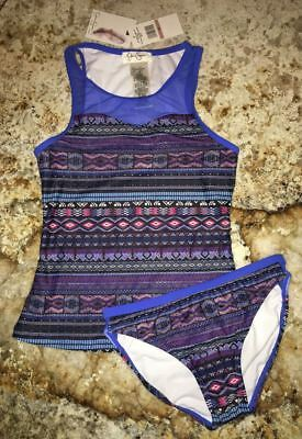 75a419e82c89b JESSICA SIMPSON Cherokee Queen Print Tankini Blue 2pc Swim Suit NEW GIRLS  12 16