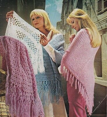 4 Ladies Crochet & Knitting Patterns Copy SHAWLS in 4 Ply