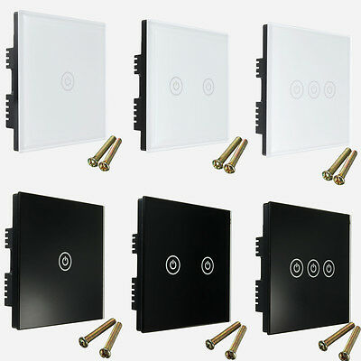 Tempered Glass 1/2/3 Gang ON/OFF 1 2 Way Touch Remote Control Light Switch Panel