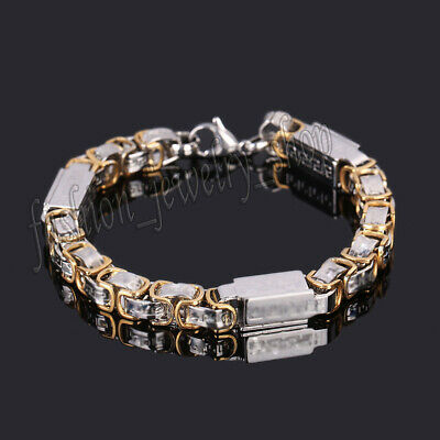 Unisex's Men Jewelry Gold Plated Stainless Steel Chain Cuff Punk Bangle Bracelet