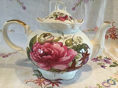 *gorgeous Vintage Arthur Wood Pink Rose Teapot*