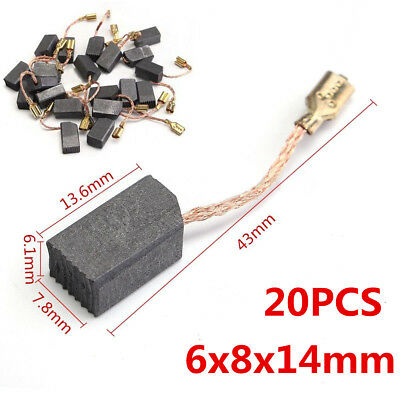 Electric Drill Tools 6mm x 8mm x 14mm Carbon Motor Brushes Spare Part 20 Pcs